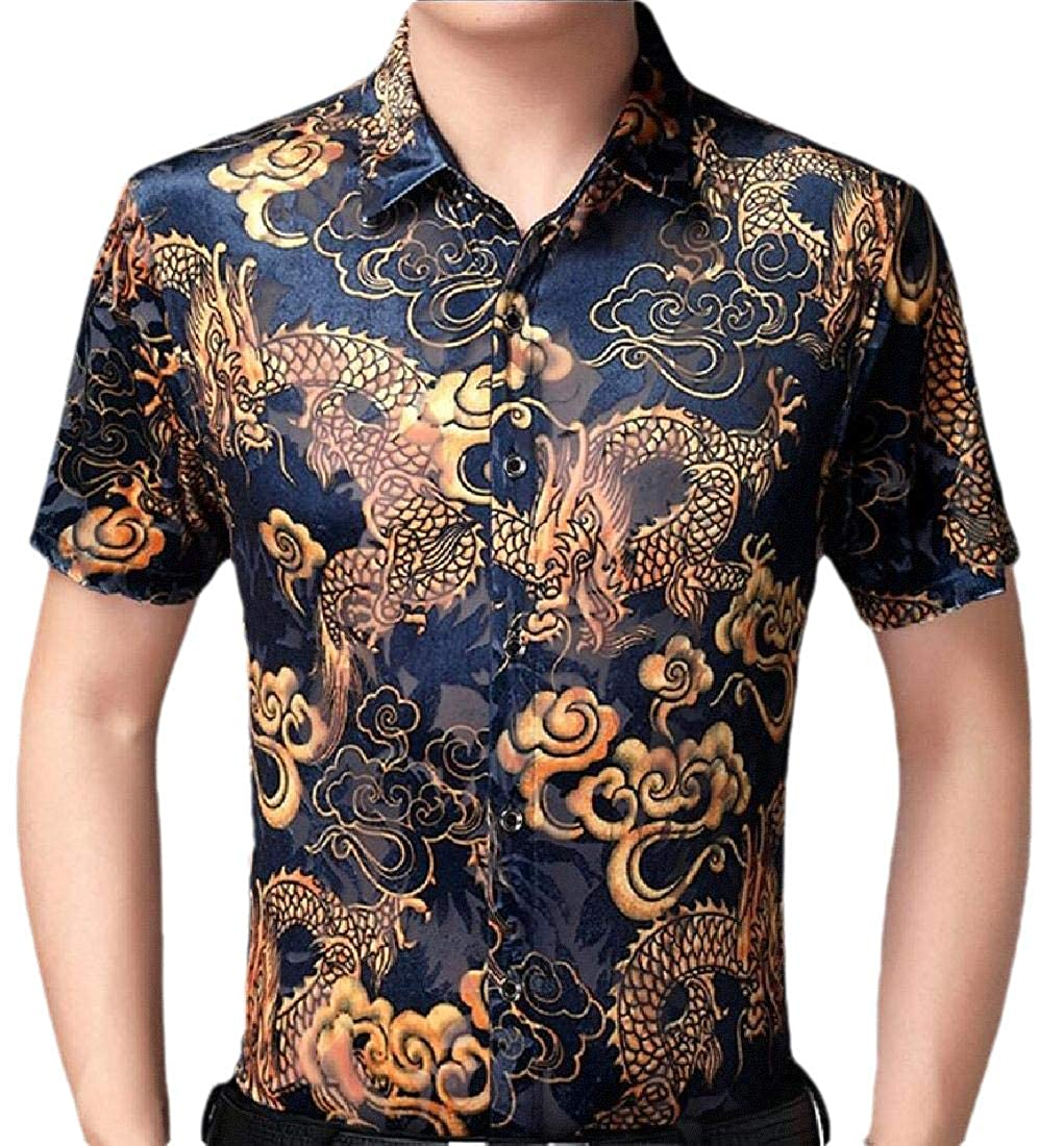 Beloved Men See Through Button Down Shirt Clubwear Mesh Sheer Short Sleeves Shirt