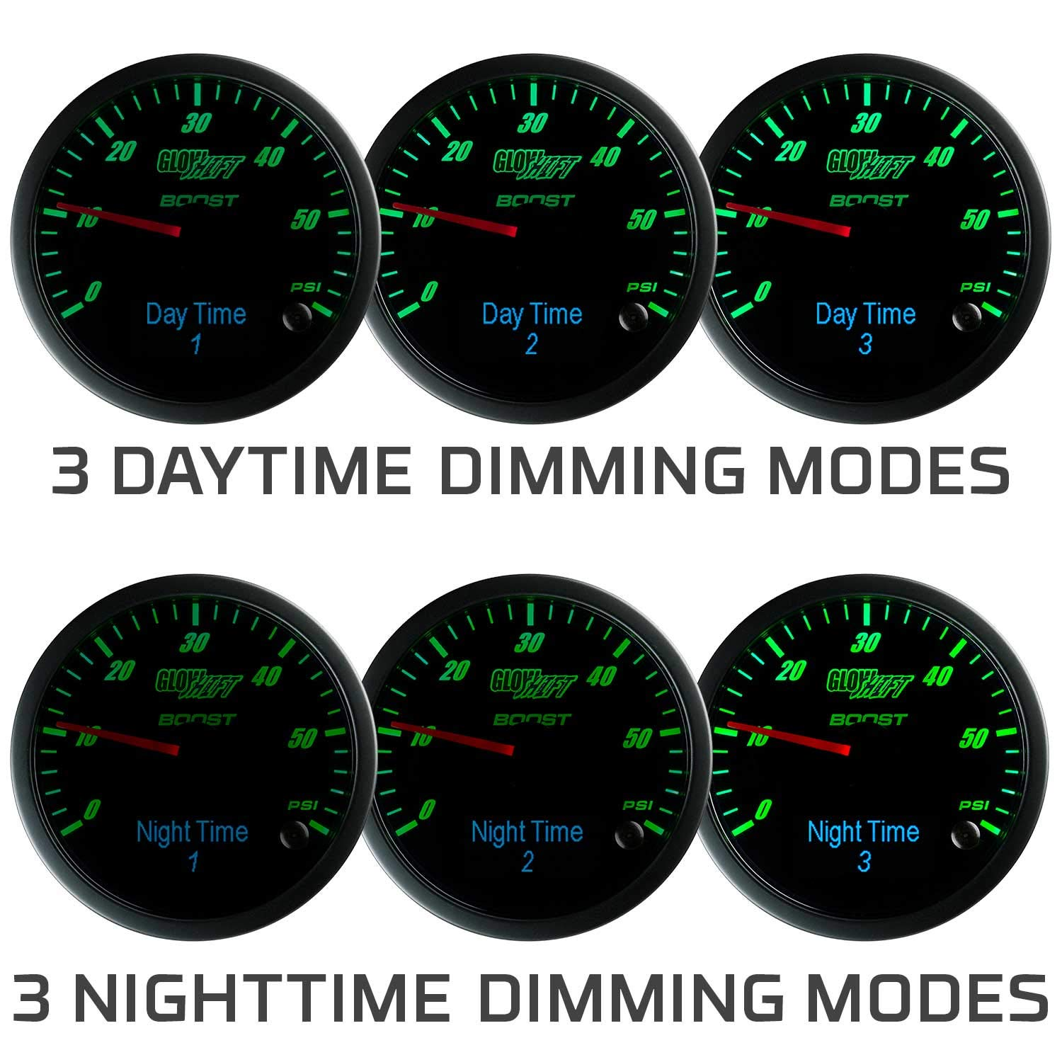 GlowShift 3in1 Analog 1500 F Pyrometer Exhaust Gas Temp EGT Gauge Kit with Digital 60 PSI Boost & 300 F Temperature Readings - 10 Selectable LED Colors - Black Dial - Clear Lens - 2-3/8'' 60mm by GlowShift (Image #7)