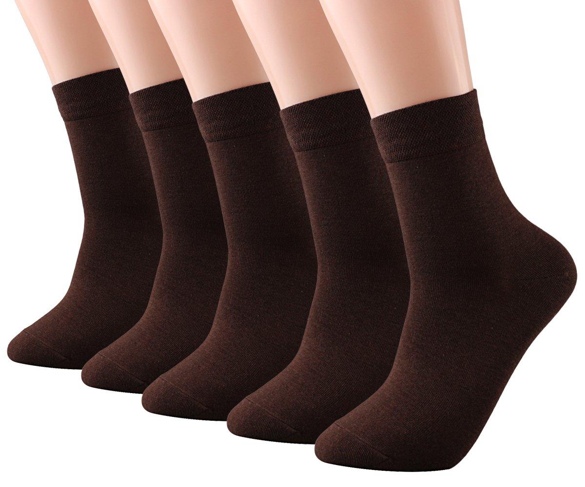 CozyWow Men's Bamboo Fiber Business Crew Socks (5-Pack)5 Brown