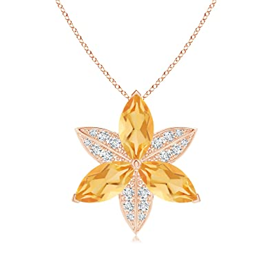 Angara Citrine and Diamond Trillium Flower Pendant pqIcUaUe9