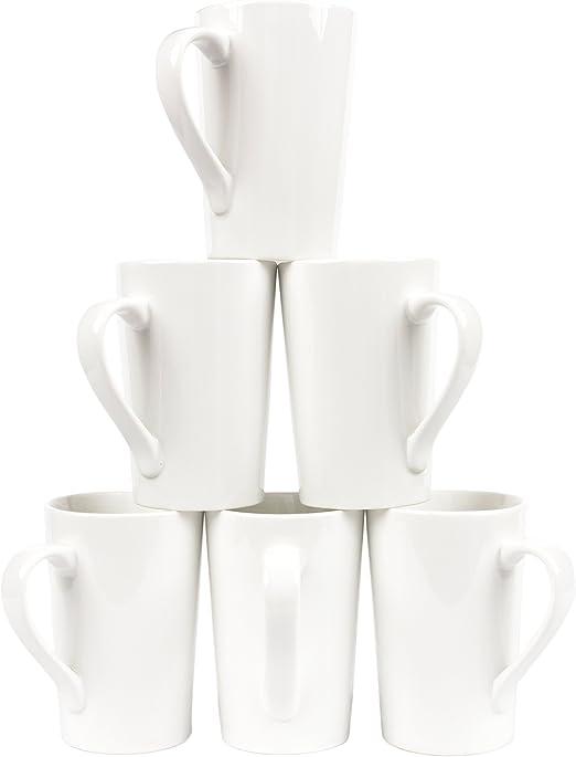 Amuse Set of 6 Pure White Professional Gourmet Extra Large Coffee /& Latte Mug