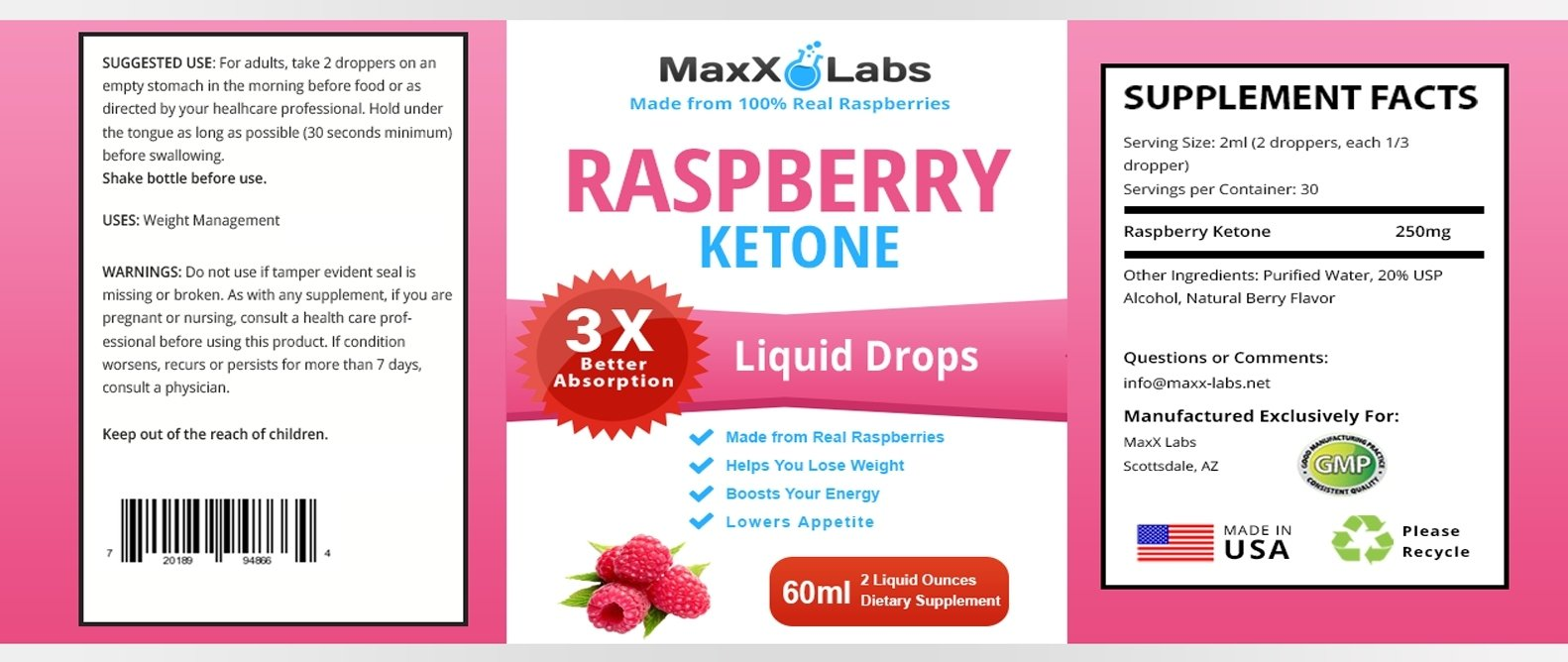 100% PURE Raspberry Ketone Drops - LOSE WEIGHT OR YOUR MONEY BACK - Top Choice of Dieters Wanting the Strongest Raspberry Ketones Liquid with 250mg Extracted from - ACTUAL Raspberry Fruit, 2oz Bottle by MaxX Labs (Image #2)