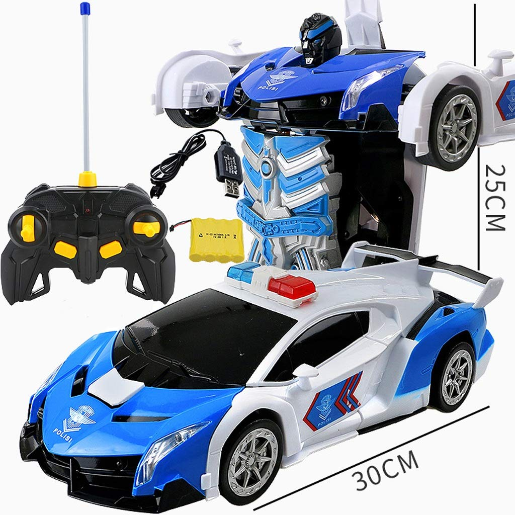 WMWYFWB Kinderspielzeug Transformers Roboterfernsteuerungsauto verwandelt Spielzeugauto Action figures statue model (Farbe : Dark Blau A)