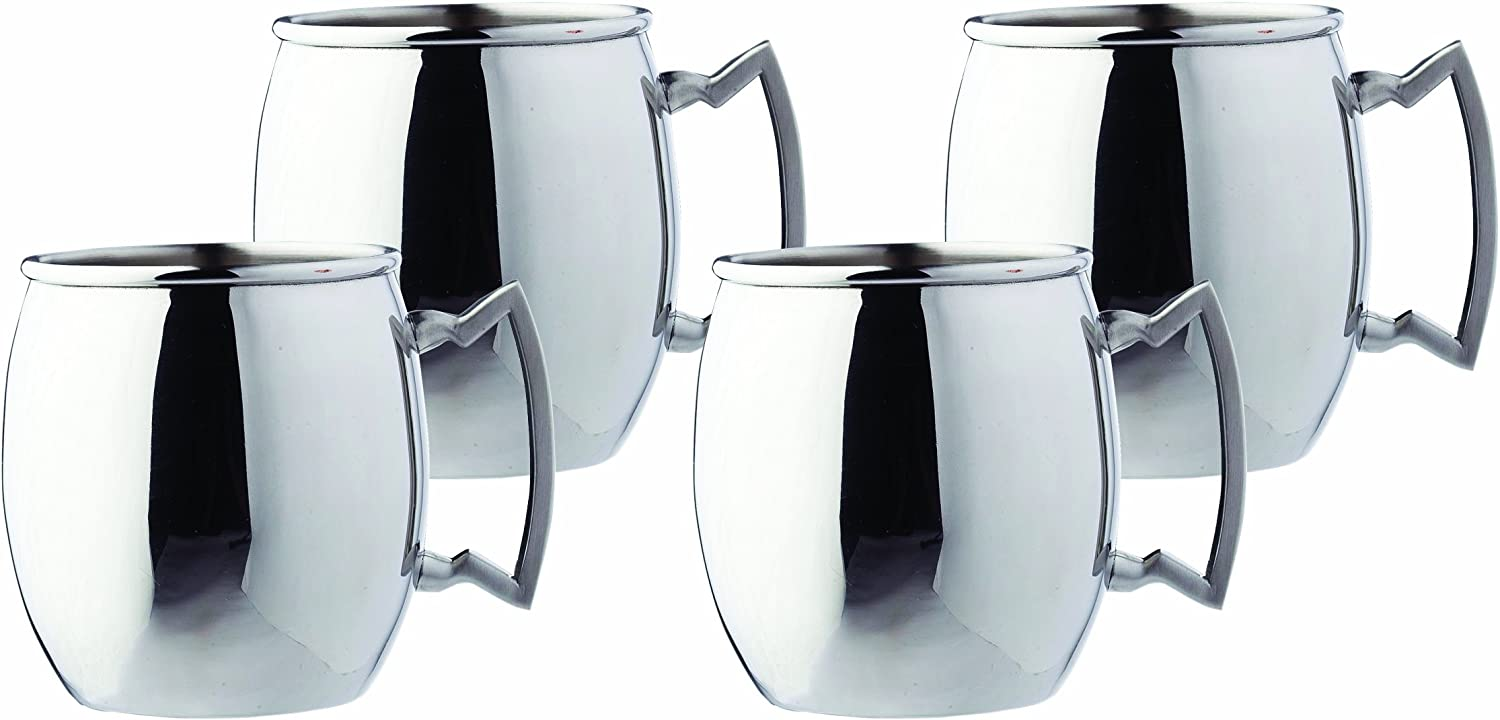 Steelii Stainless Steel Moscow Mule Mug with Stainless Steel Handle, 16-Ounce, Set of 4