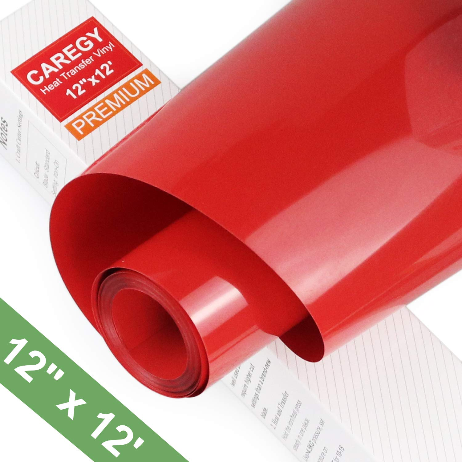 CAREGY Heat Transfer Vinyl HTV Rolls for T Shirts 12in.x12ft.(Red)