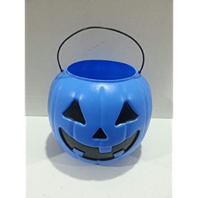 Halloween Pumpkin Jack O' Lantern Candy Bucket (Blue): Kitchen & Dining
