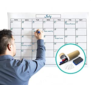 Jumbo Large Dry Erase Wall Monthly Calendar Planner Whiteboard: Wipe Off Erasable Calendar with Bonus Hanging Kit | WallDeca, Use in Classroom, Office, Home, Kitchen! (36 x 48 Inch)