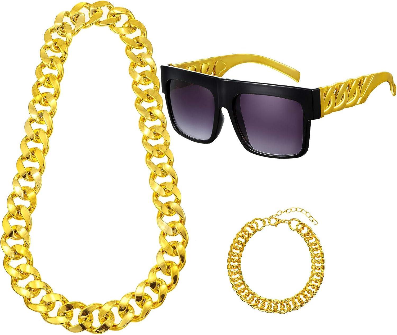 Chunky Hip Hop Glasses Rapper Run DMC Chain Rap Hammer Black Gold Glasses