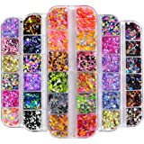 5 Box/60 Grids Nail Sequins, Kalolary Nail Art Flake Nail Glitter Paillette Mixed Round Thin Shining, 3D Nail Art…