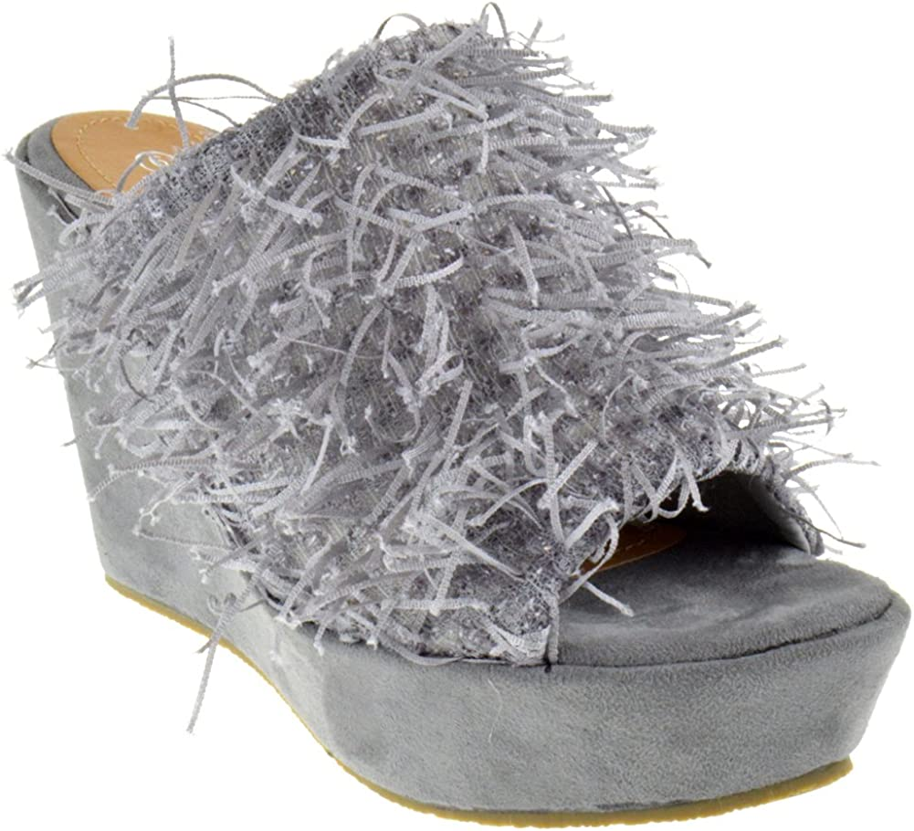 Nature Breeze Wilma 01 Peep Toe Confetti Fringy Wedge Platform Sandals