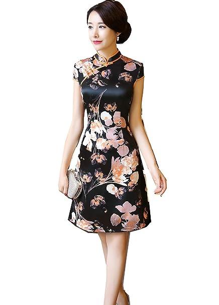 Mujer Vestidos Corto Chino Oriental de Cheongsam Vestido Chino Floral de Estilo Chino Qipao Vestido de Mujer Chino de Seda Falsa: Amazon.es: Ropa y ...