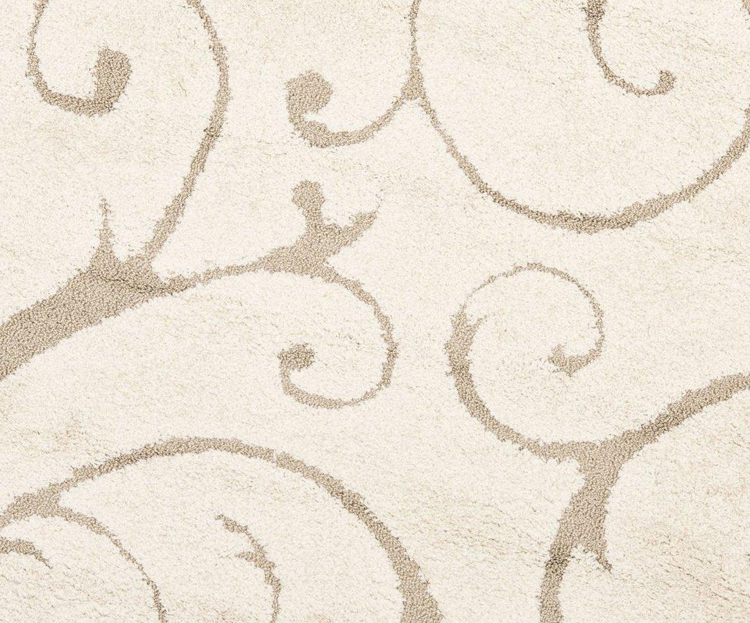 "Safavieh Florida Shag Collection SG455-1113 Scrolling Vine Cream and Beige Graceful Swirl Round Area Rug (67"" Diameter)"