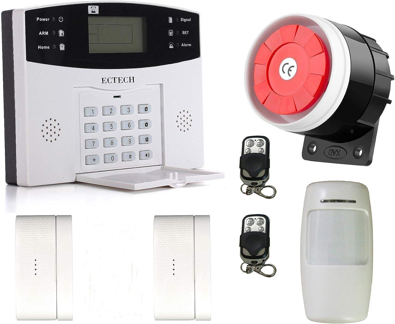 ECTECH W06 Alarme Maison sans Fil Syst/èmes S/écurit/é Sir/ène Solaire Ext/érieure avec 1 Capteur de Mouvement,3 Capteurs de Porte de fen/être,2 T/él/écommandes