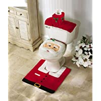 EUBEST Hot Happy Santa Toilet Seat Cover And Rug Bathroom Set For Christmas Decoration