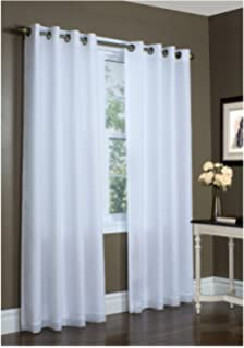Thermalogic Sixteen Grommets Rhapsody Thermavoile Lined Curtains, White, ...