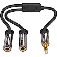KabelDirekt Câble Adapteur 3.5mm Stéréo Jack (1x prise mâle > 2x prises femelles) PRO Series