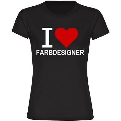 T Shirt Classic I Love Farbdesigner Schwarz Damen Gr S Bis 2xl