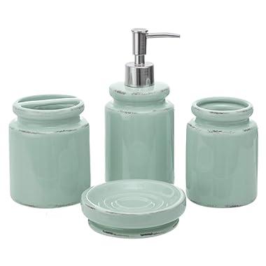 Kiera Grace HO85270-0INT kieragrace Muskoka Vinson 4-Piece Bathroom Accessory Set – Vintage Aqua Ceramic Bath