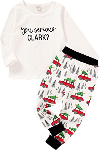 Toddler Boy Kids Christmas Vacation Outfit You Serious Clark Romper Christmas Truck Pants Coming Home Outfit