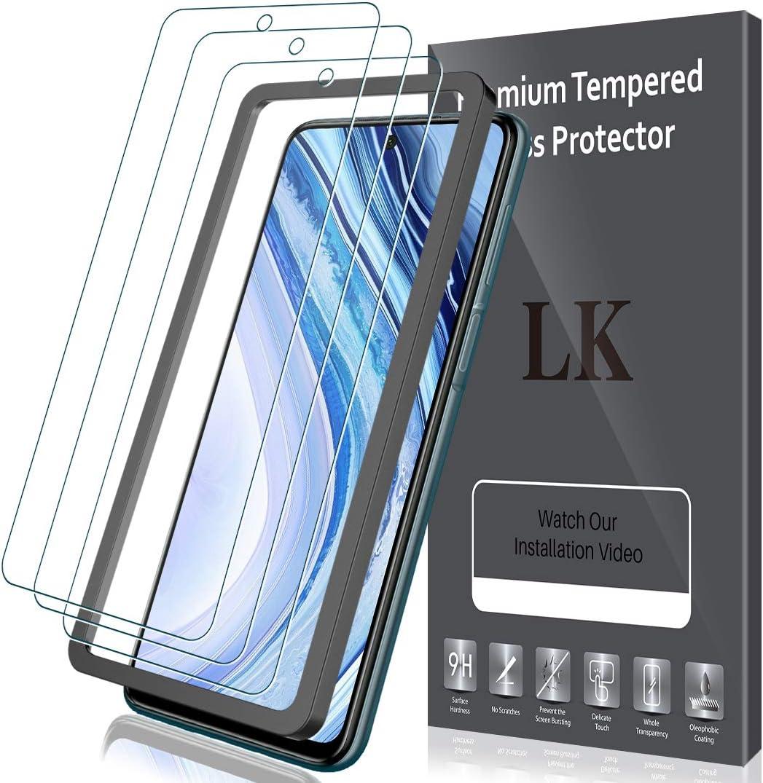 LK Compatible con Xiaomi Redmi Note 9 Pro Protector de Pantalla,3 Pack,9H Dureza Cristal Templado, Equipado con Marco de Posicionamiento,Vidrio Templado Screen Protector,LK-X-32