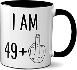 50th Birthday Funny Gift for Women or Men | Turning 50 Years Old Happy Birthday Coffee Mug | Gag Novelty Cup | Fiftieth Bday Party Celebration | Adult Birthday Presents (11oz, black handle)