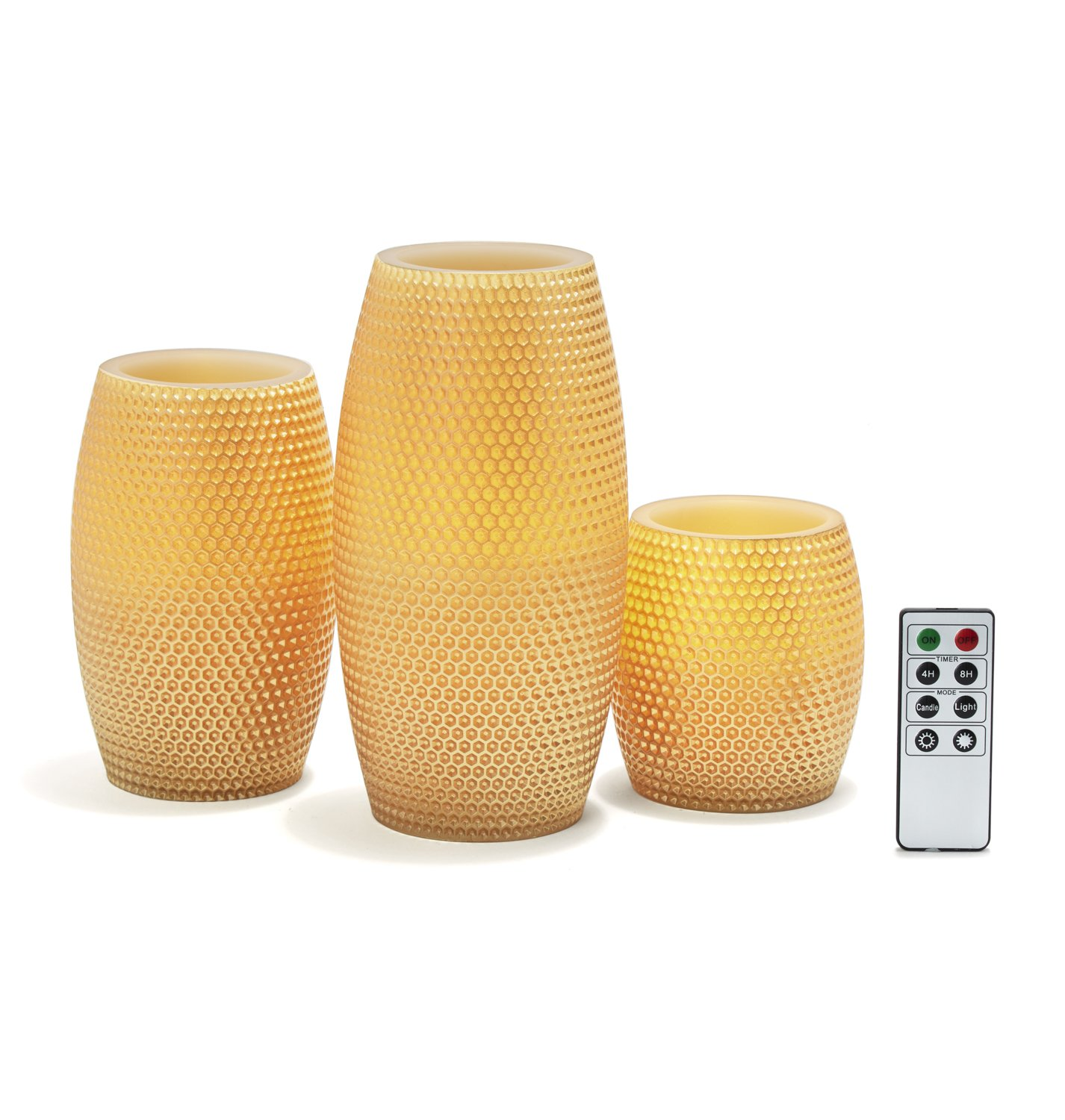 Gold Flameless Large Wax Candles, Set of 3, Warm White LEDs, Honeycomb Carved Finish, Remote & Batteries Included by LampLust