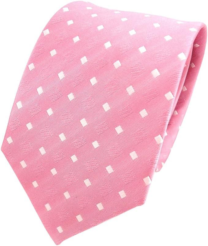 TigerTie diseñador corbata de seda - rosa claro blanco lunares ...