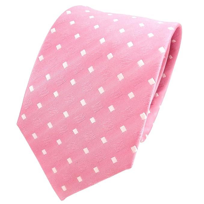 TigerTie diseñador corbata de seda rosa claro blanco lunares