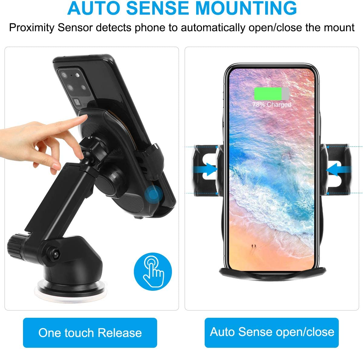Glod HonShoop Auto-Clamping 10W 7.5W Fast Charging Car Phone Holder Air Vent Compatible with iPhone X//XR//Xs//Xs Max//8//8 Plus ect Wireless Car Charger