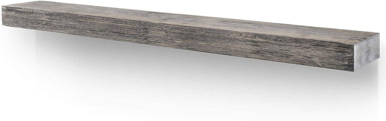 BoscoMondo Rustic Fireplace Mantel Floating Shelf - 60'' X 7'' X 3'' Solid Pine Wood - Wall Decor, Mounted Farmhouse Shelving - Invisible Heavy Duty Bracket (Grey, 60'')