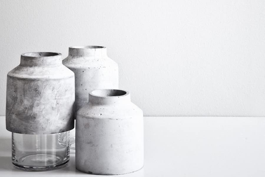 Willmann Glass & Concrete Vase, Unique Minimalist style