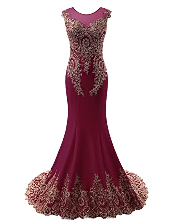 Clearbridal Womens Long Mermaid Gold Lace Embroide Burgundy Prom Dress Evening Gown