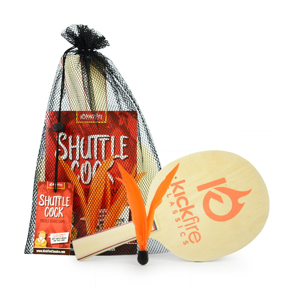 KickFire Classics Shuttlecock Paddle Board Game | Badminton with a Twist | Includes 2 Lightweight Wooden Paddles & 2 Shuttlecock Feathers | Best Indoor & Outdoor Racket Game for Kids, Adults & Teens