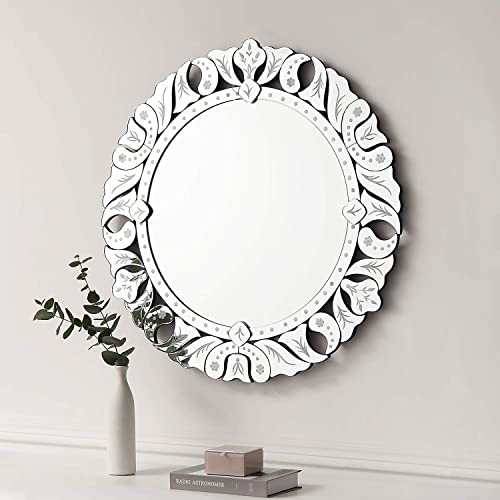 Wall Mirror with a Silver Backed Mirrored Glass Panel Best for Vanity, Bedroom, or Bathroom 31.5 x31.5