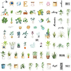 Cute Plant Stickers 80 pcs, Mini Aesthetic Planner Sticker, Trendy Decals for Water Bottles, Phone Cases, Laptops, Calendars, Scrapbook, Bullet Journal, Album (Plants Style)