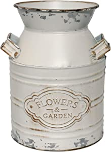 WHHOME Shabby Chic Classy Designed White Milk Can Galvanized Finish Metal Vase Country Rustic Primitive Decorative Flower Holder, 7.5