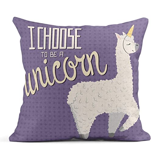 Kinhevao Cojín Llama Cute Cartoon Lama Alpaca Unicorn Horn ...