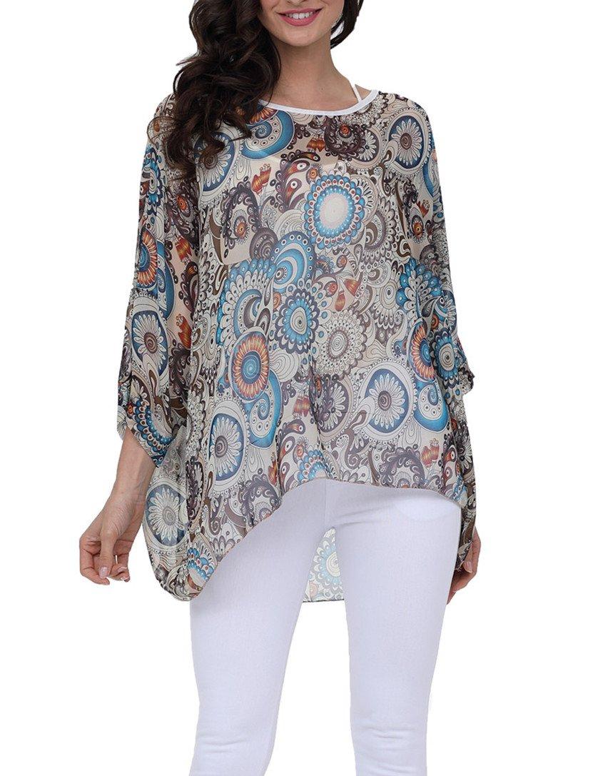 DearQ Women's Bird Heart Geometric Print Short Sleeve Chiffon Top T-Shirt Blouses 4277