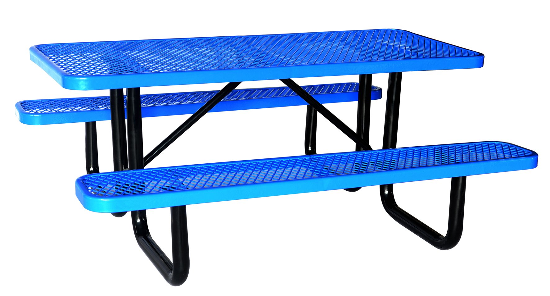 Lifeyard 72'' Expanded Metal Rectangular Picnic Table and Benches Steel Frame for Outdoor Furniture (Blue)!