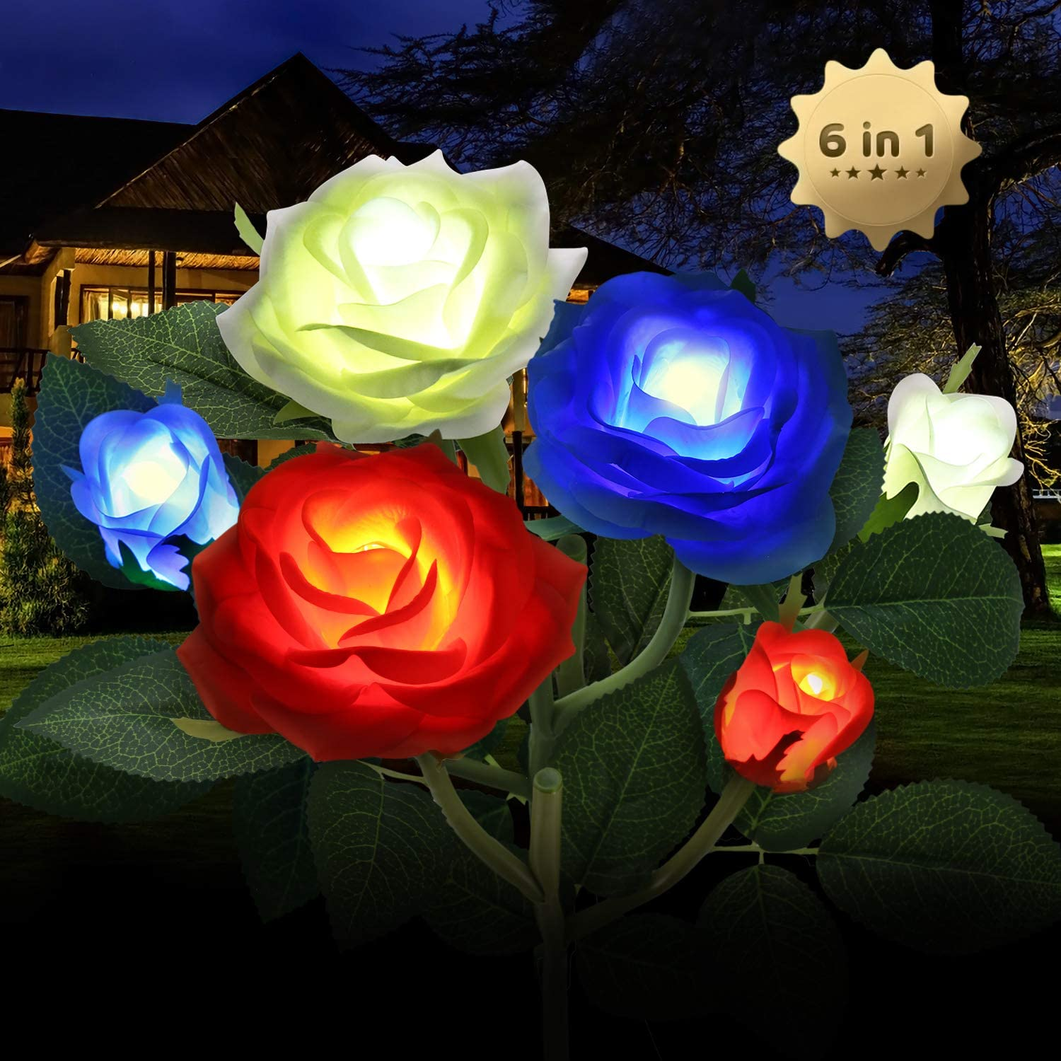 Outdoor Solar Garden Stake Lights,Upgraded LED Solar Powered Light with 6 Rose Flowers, 3 Pack Colorful Waterproof Solar Decorative Lights for Garden, Patio, Backyard (Orange&White&Blue)