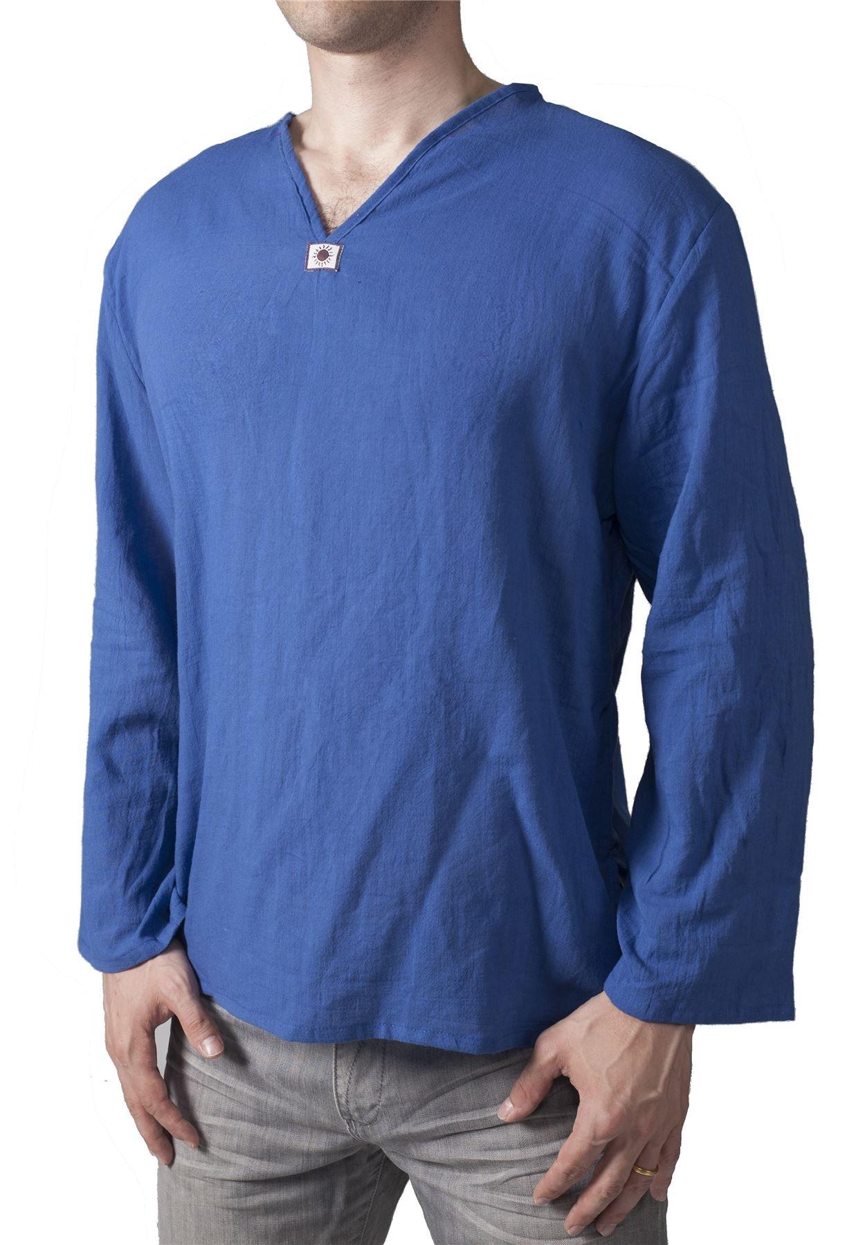 Lofbaz Men's V-Neck T-Shirt 100% Cotton Thai Hippie Shirt Yoga Top Dark Blue XL
