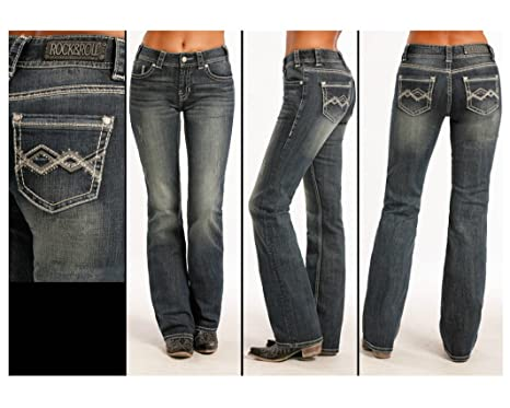 6f95cdbfec4 Rock   Roll Cowgirl Women s and Chevron Crossing Jeans Boot Cut - W1-8476  at Amazon Women s Jeans store