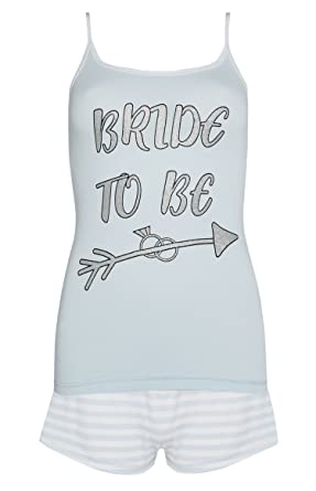 019813f9e2 Image Unavailable. Image not available for. Colour  Bride to Be Pyjama Set  Top and Shorts Hen Do Wedding PJ s PJS (XL)