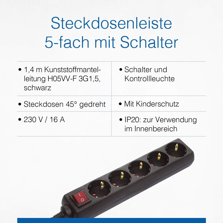 as-Schwabe 35011 Bloc multiprise 5/prises type F avec interrupteur et s/écurit/é enfant pour int/érieur et c/âble H05VV-F 3G1,5 IP20 1,4/m noir