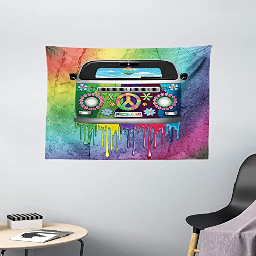 Ambesonne Groovy Tapestry, Old Style Hippie Van Dripping Rainbow Paint Mid 60s Youth Revolution Movement Theme, Wide Wall Hanging for Bedroom Living Room Dorm, 60 X 40 , Magenta Multicolor
