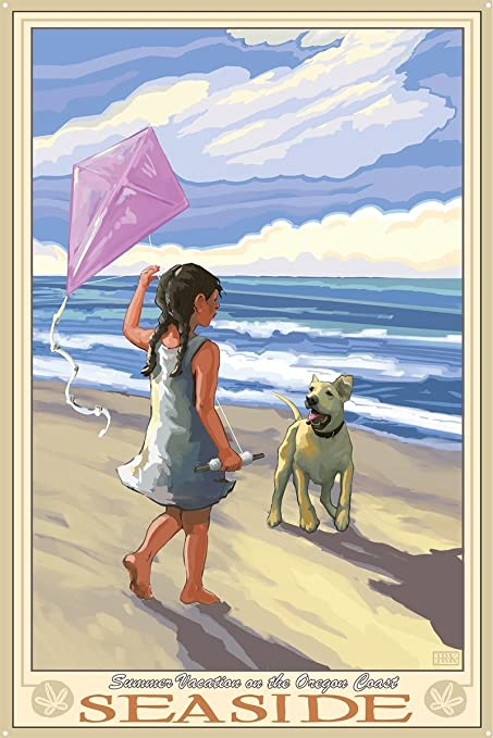 Northwest Art Mall Seaside Girl Dog Beach Metal Art Print by Joanne Kollman (24""
