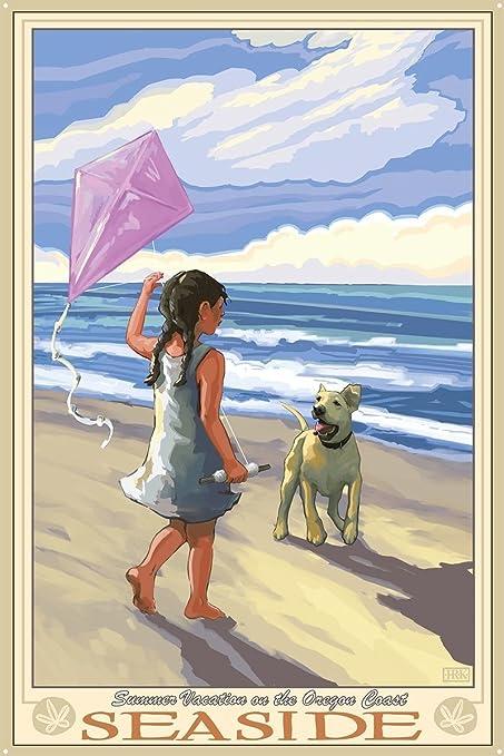 "Northwest Art Mall Seaside Girl Dog Beach Metal Art Print by Joanne Kollman (24"""