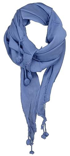 TigerTie Donne foulard panno-triangolo in blu Uni dimensione 160 cm x 75 cm - panno stantio di coton...