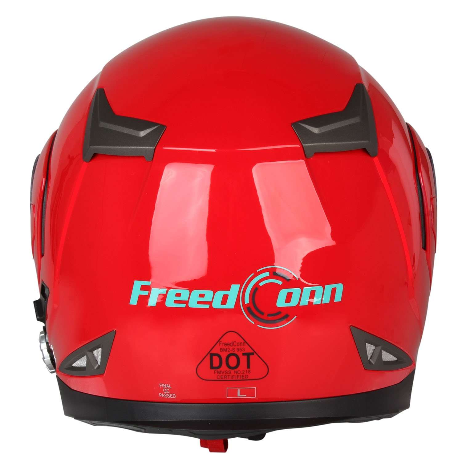 Motorcycle Bluetooth Helmets,FreedConn Flip up Dual Visors Full Face Helmet,Built-in Integrated Intercom Communication System(Range 500M,2-3Riders Pairing,FM radio,Waterproof,L,Red) by FreedConn (Image #10)