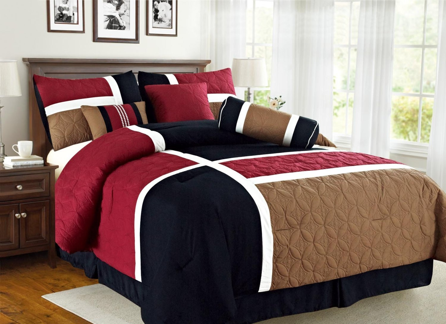 Empire Home Over-Stock Special Patchwork 7 Piece comforter set Oversized - On Sale Till End of Month ONLY (Queen Size, Burgundy & Black)